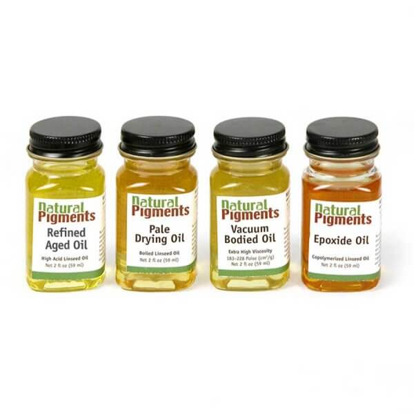 A set of four linseed oils