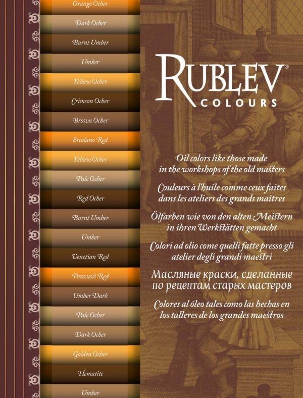 Rublev Colours Artists Oil Color Chart Oil Paints Natural Pigments