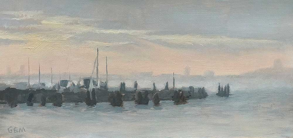 Boat Basin, 4.25 x 9 inches, oil on linen panel