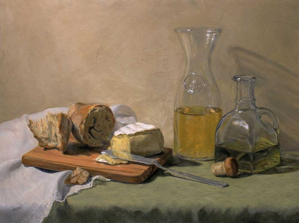 Bread, Cheese, Wine, and Olive Oil, 12 x 16 inches, oil on linen panel