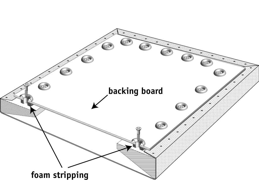 Figure 2. Adhere the foam stripping to the backing board to form a seal between the backing board and the stretcher.