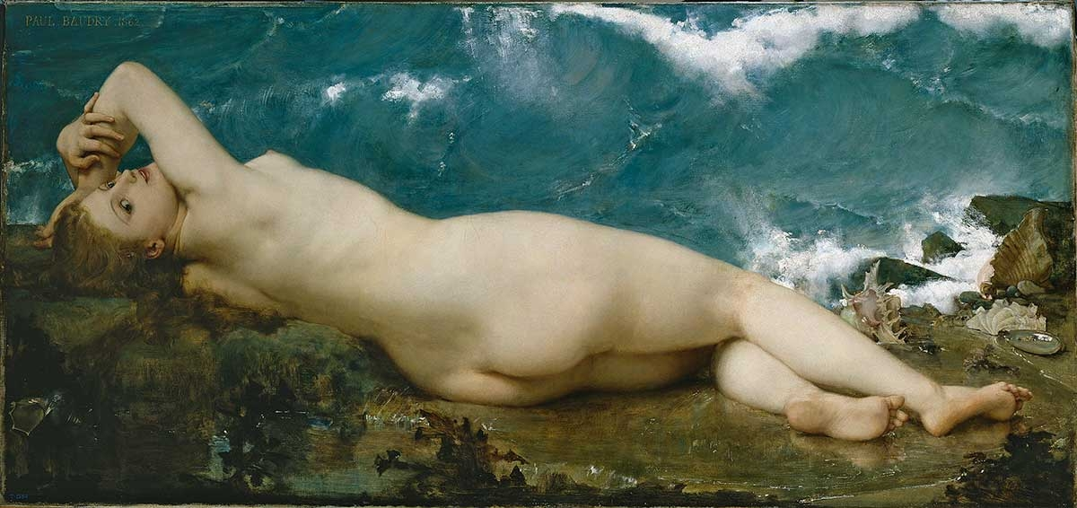 Paul-Jacques-Aime Baudry, The Pearl and the Wave, 1862, oil on canvas, 32.9 x 70 inches