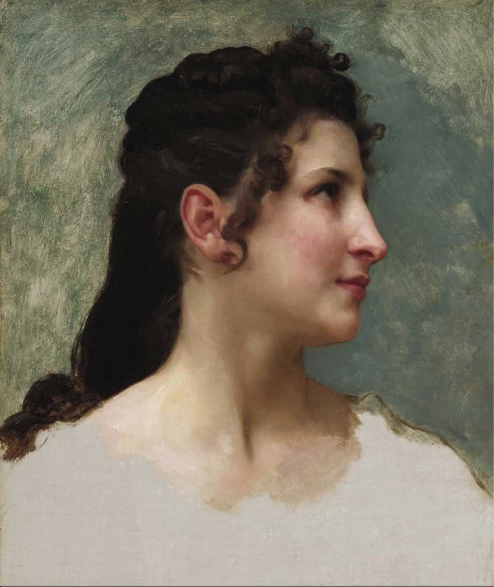 William-Adolphe Bouguereau, Study of a Girl's Head, c. 1890, oil on canvas, 17.9 x 15 inches