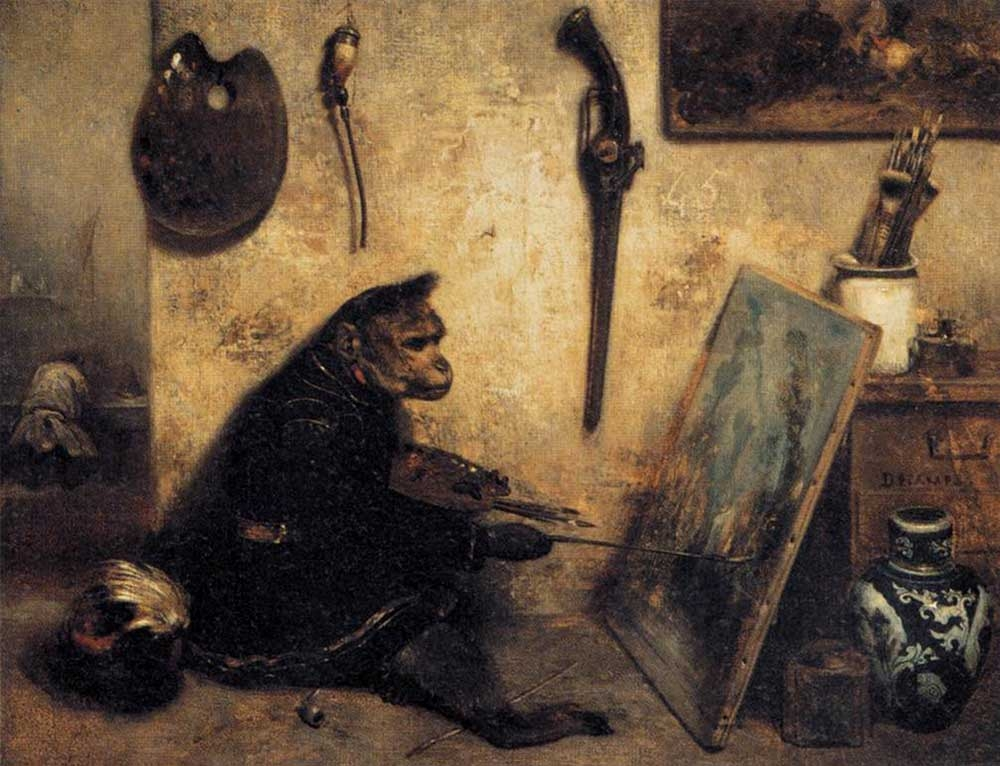 Alexandre-Gabriel Decamps, The Monkey Painter, 1833, oil on canvas, 12.6 x 15.7 inches