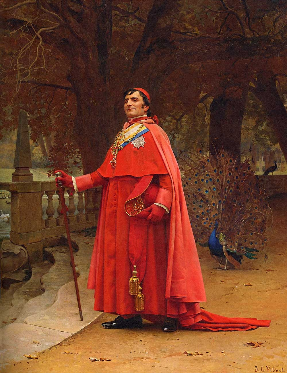 Jehan Georges Vibert, The Preening Peacock, date of completion unknown, oil on panel, 14.7 x 18.2 inches