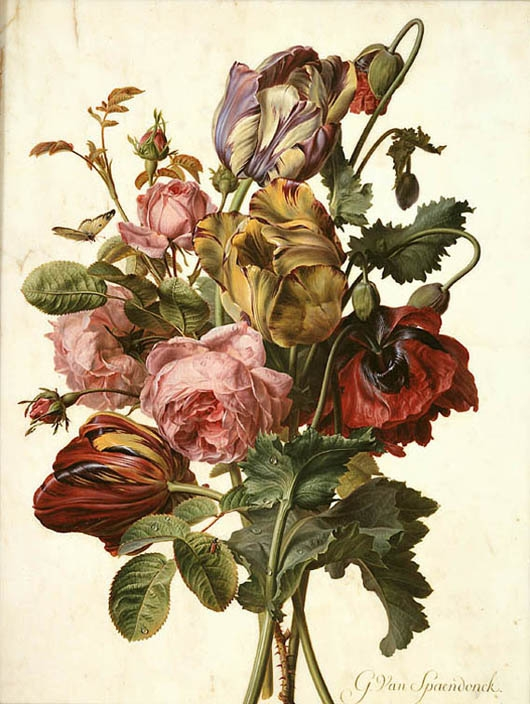 Gerard Van Spaendonck (1746-1822) Bouquet of Tulips, Roses and an Opium Poppy, with a Pale Clouded Yellow Butterfly, a Red Longhorn Beetle and a Seven-spotted Ladybug. Oil on marble.