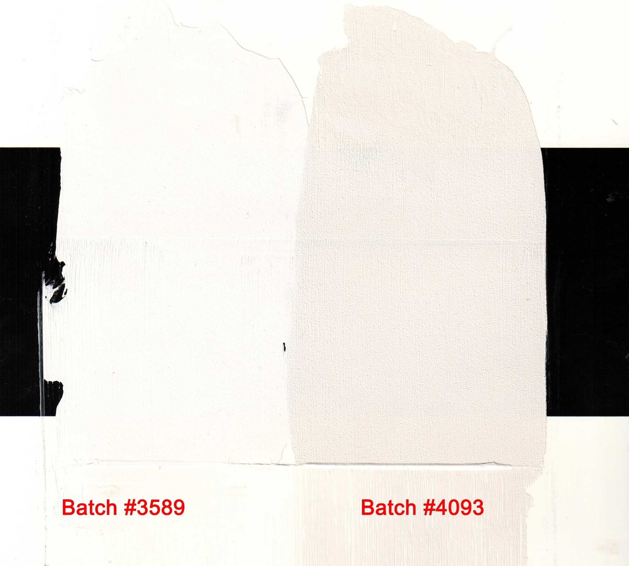 Drawdown of Batch 4093 and standard stack process flake white